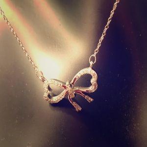 Jewelry - V Day SALE* - NWOT Darling DIAMOND Bow Necklace